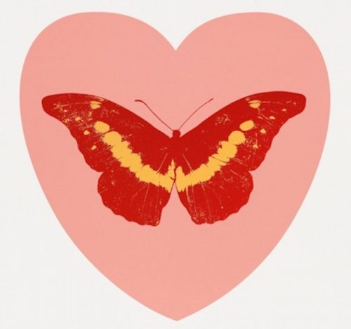 -I-Love-You-pink-poppy-red-cool-gold- Damien Hirst