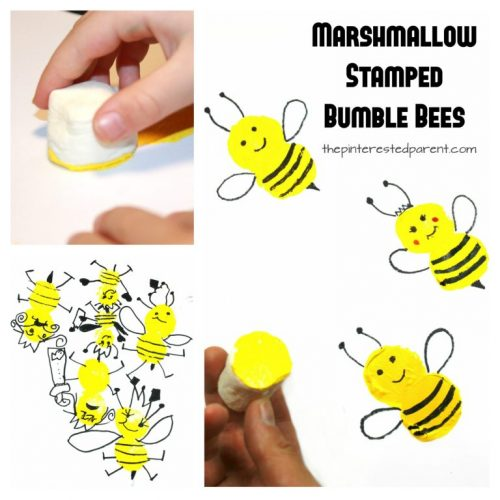 marshmallow stamped bees