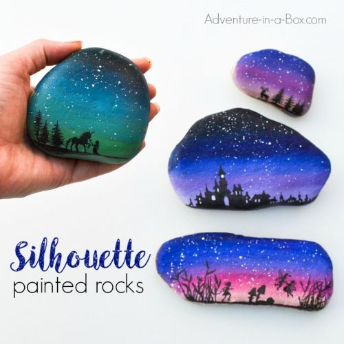 gradient-painted-rocks-with-silhouettes-35