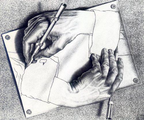 Escher - hands drawing hands