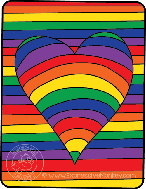 Optical Rainbow Heart Art