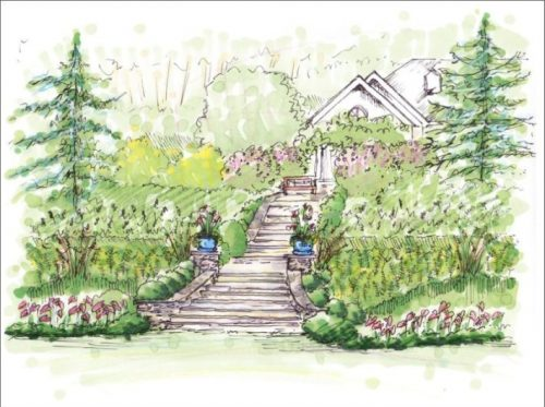 residential-stairway-and-garden-perspective-drawing-atlanta